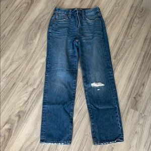 Classic Straight Jeans in Jade Wash Rip-Knee